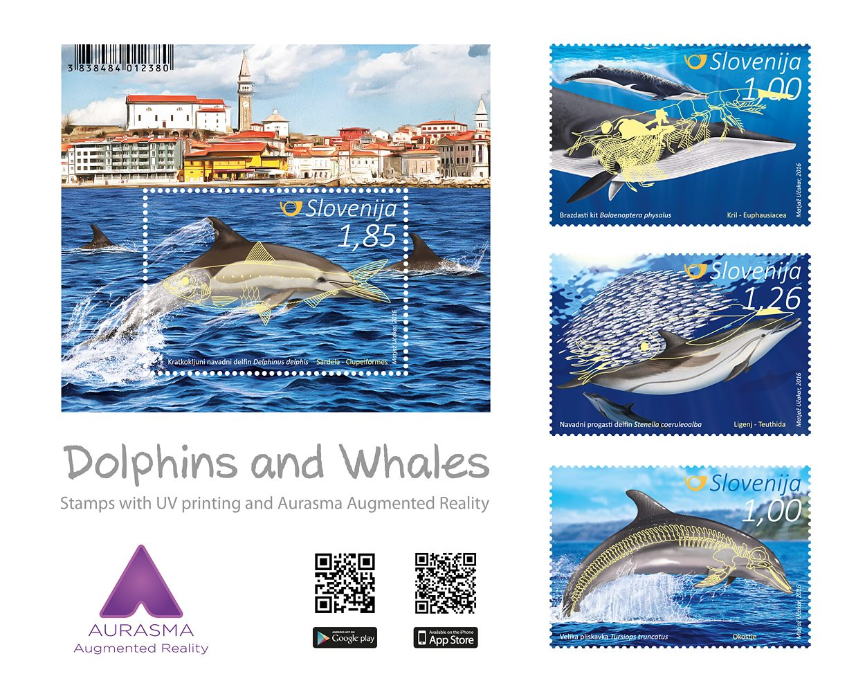Slovenian Post: Dolphins and Whales – Additional image visible in Ultraviolet Light