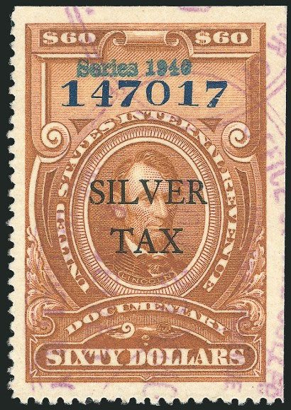 A $60 brown/blue 1940 series silver tax stamp is estimated to make $24,000.