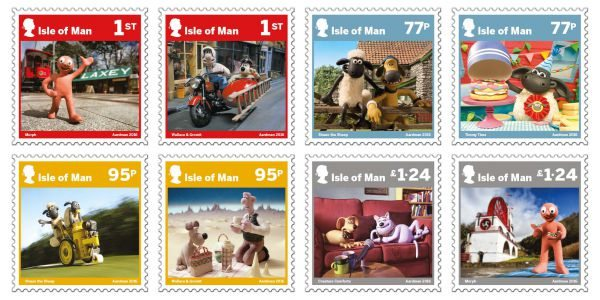 Celebrating Aardman's 40 years of Creativity. Isle of Man Post has prepared eight touching stamps on the occasion!