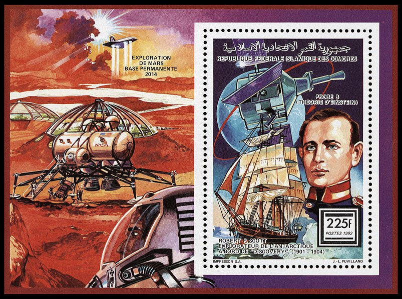 Mars exploration, permanent Mars base stamp - Federal Islamic Republic of Comoros, 1992
