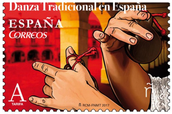 So hot and rhythmic traditional Spanish dances. A premium souvenir sheet with a special stamp released by Correos