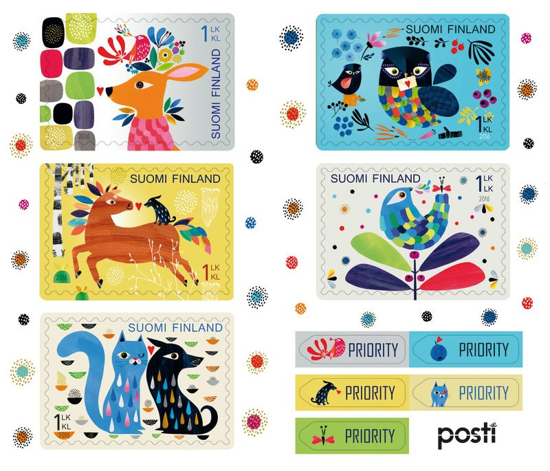 Animals are faithful friends! 5 heartwarming stamps by Finnish Post celebrates St. Valentine's Day