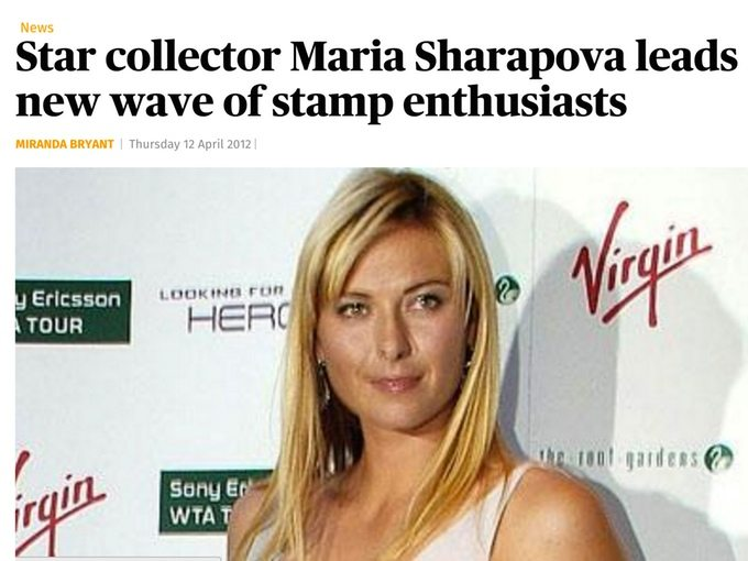 Star stamp collector Maria Sharapova leads new wave of stamp enthusiasts