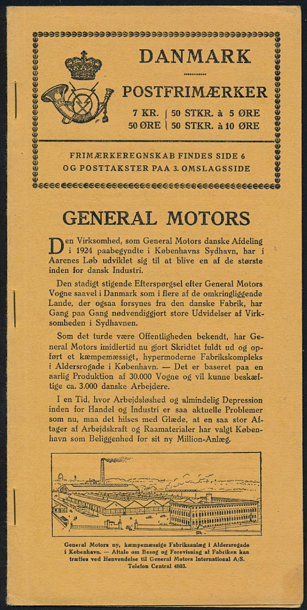 1930. GENERAL MOTORS. 7,50 Kr. Booklet in very fine quality. Rare. AFA: - . Certificate Nielsen. Estimate: DKK 40,000.