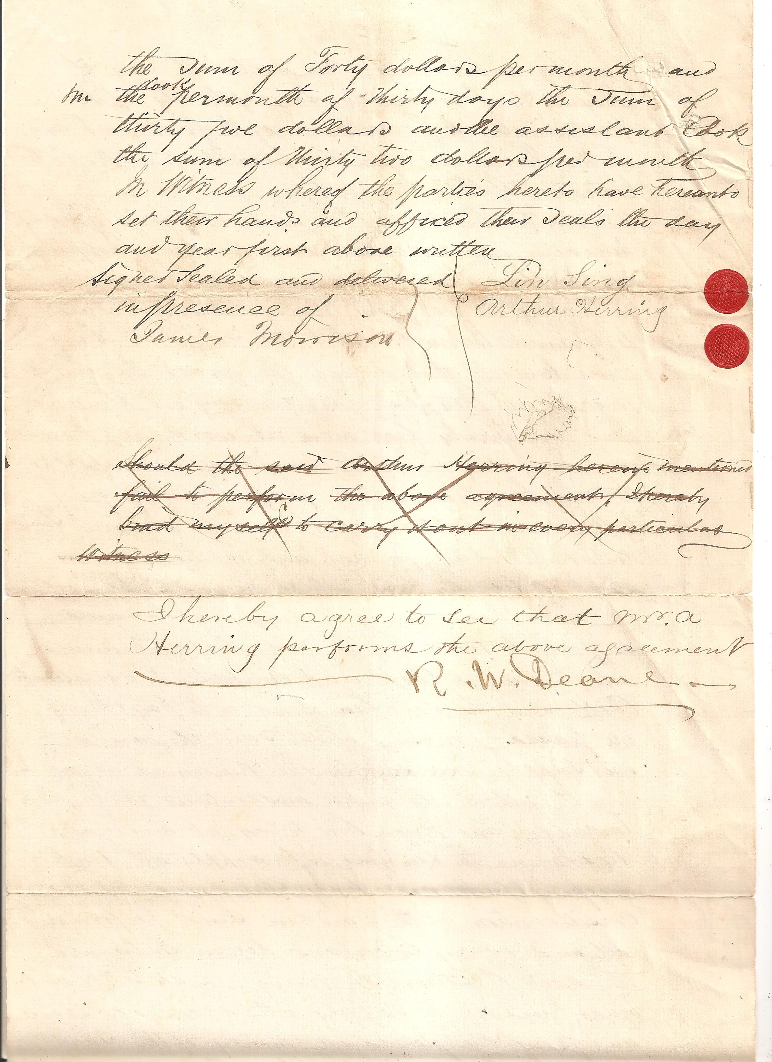 Arthur Herring's road to Burrard Inlet. A July 1875 roadbuilding document sold for US$11,000 at the recent auction