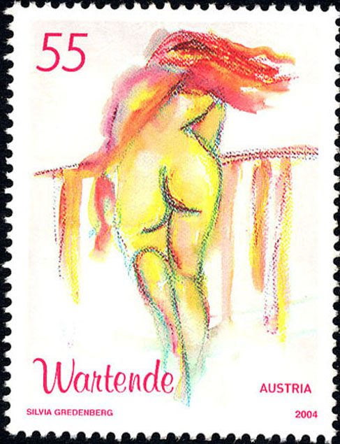 Exquisite Austrian stamp - Woman waiting