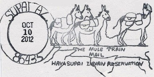 There's a special postmark for Supai's outgoing mail, so you'll know your mail was carried by mules.