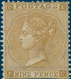 Lot 538 1862 Abnormal 9d bistre with hairlines lettered 'EC' unused without gum. RPS Cert (1967). Cat £32,000 Est. £7000