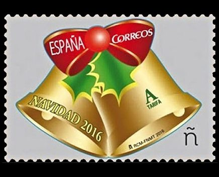 Spanish Post: Typical bell Christmas decorations stamp