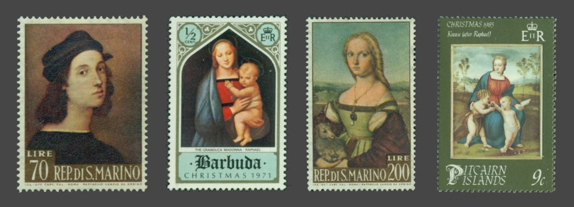Raphaels Self-portrait (left), Madonna of the Great Duke (second), The Lady with the Unicorn (third) and Holy Mary with the Goldfinch (right) on stamps