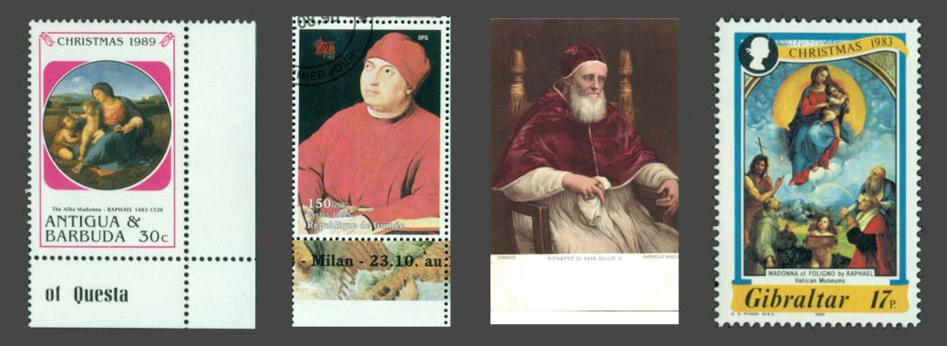 Mary of the Duke of Alba (left), The portrait of Tomasso Inghirami (second), The portrait of Pope Julius II (third), and Madonna Folignio (right)