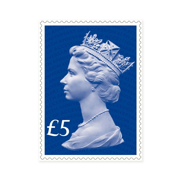 Royal Mail Marks Queen's 65th Anniversary of the Accession! A special Sapphire Blue Machin Definitive stamp introduced
