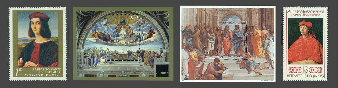 Portrait of a Young Man (left),  La Disputa (second), The School of Athens (third) and Cardinals Portrait (right) on stamps