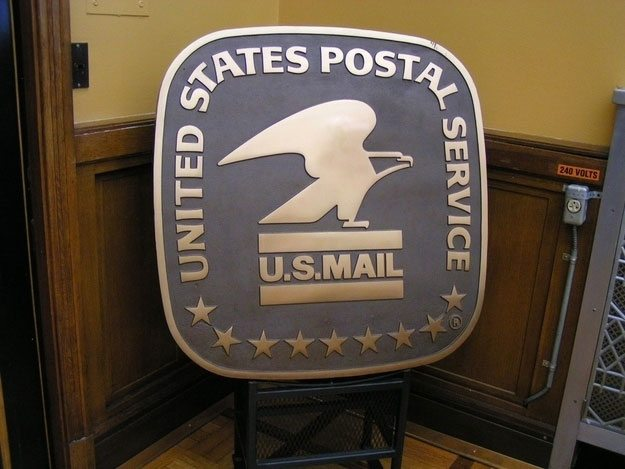 This has been the postal seal since 1970, but before that it was a man on a horse. And before that it was the pagan god Mercury.