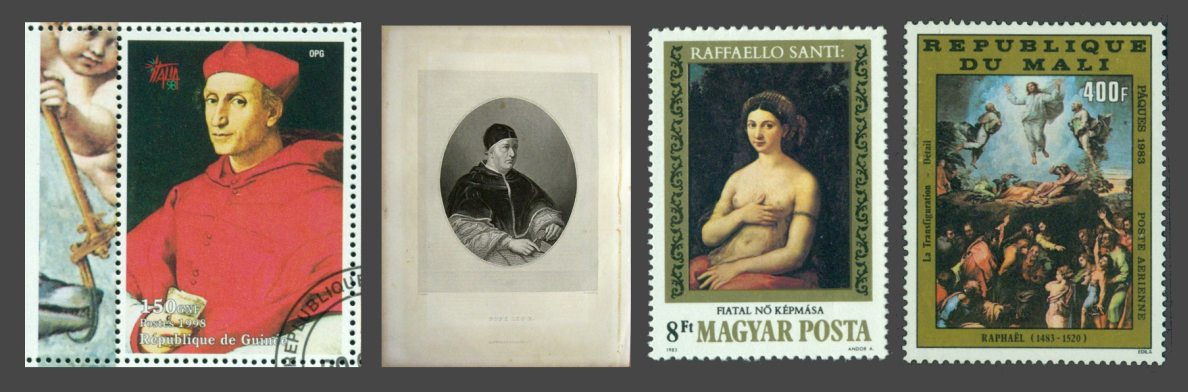 Cardinal Bernando Dovicci di Bibiena (left), Pope Leo X (second), Fornarina (third), and Transfiguration (right) on stamps