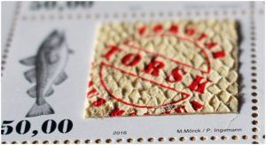 Top Extraordinary Stamps 2016: First Place - Fish skin stamp by Faroe Islands Post