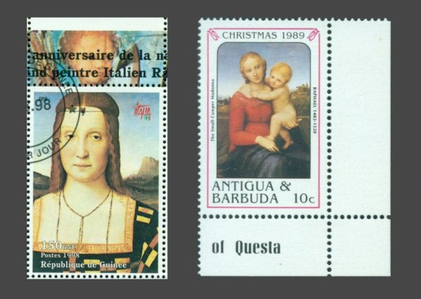 Elizabeth Gozzanca (left) and Young Holy Mary (right) on stamps