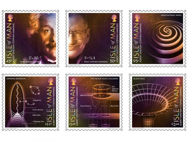 From Albert Einstein to Stephen Hawking. 100 Years of General Relativity celebrated with 6 stamps by Isle of Man Post