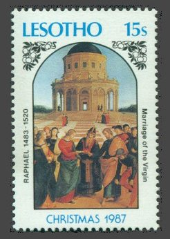 The Wedding Ceremony of Holy Mary on stamps