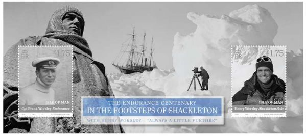 In the Footsteps of Shackleton. The 100th anniversary of the expedition marked with a miniature sheet by Isle of Man