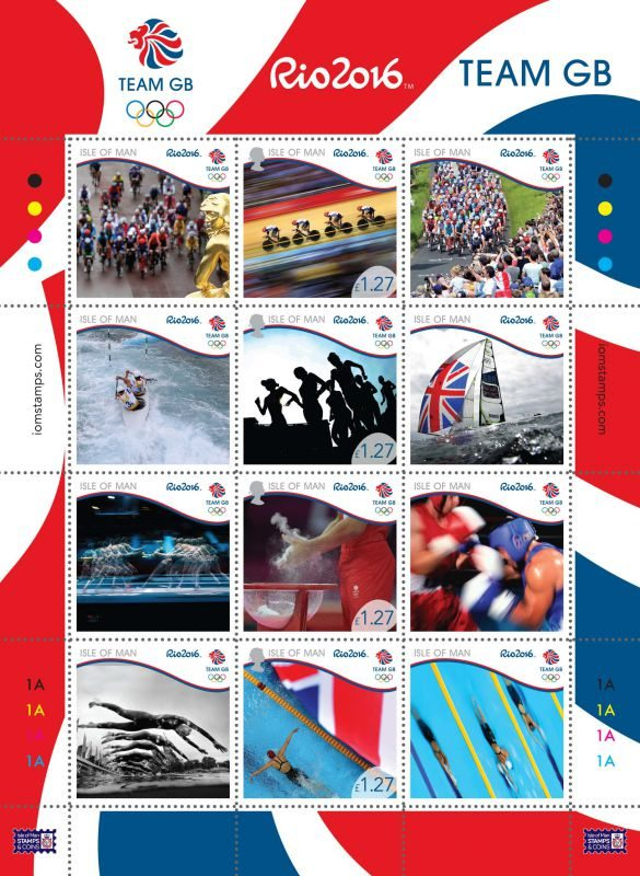 Team GB Stamp collectables for Rio 2016 Olympic Games. A bright sheetlet of 12 stamps released by Isle of Man Post