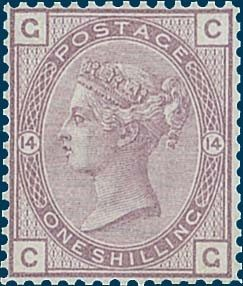 Lot 591 1880 Unissued 1/- purple pl 14 lettered 'CG', line perf 14 from the Stamp Committee book, without gum. Cat £15,000 (the lettering of this example will be added to the 21 recorded examples of the 36 from the Committee book as mentioned in SG Spec Vol 1, page 257). Est. £5000