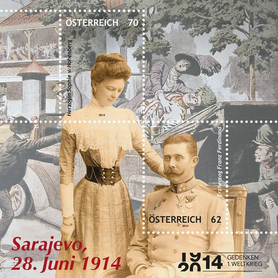 The second place: Assassination of the Austrian Archduke Franz Ferdinand and his wife Sophie Duchess of Hohenberg
