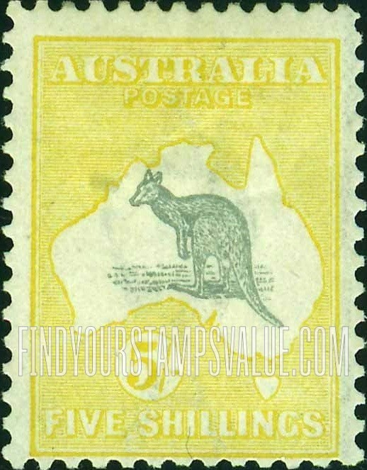 Kangaroo and Map: Kangaroo-Map Type of 1913 1sh Blue green DEN WERT ...