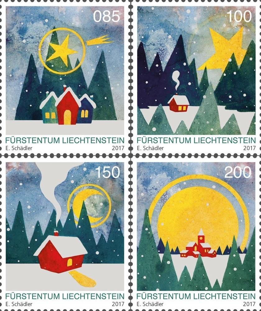 liechtenstein post introduced four christmas 2017 stamps
