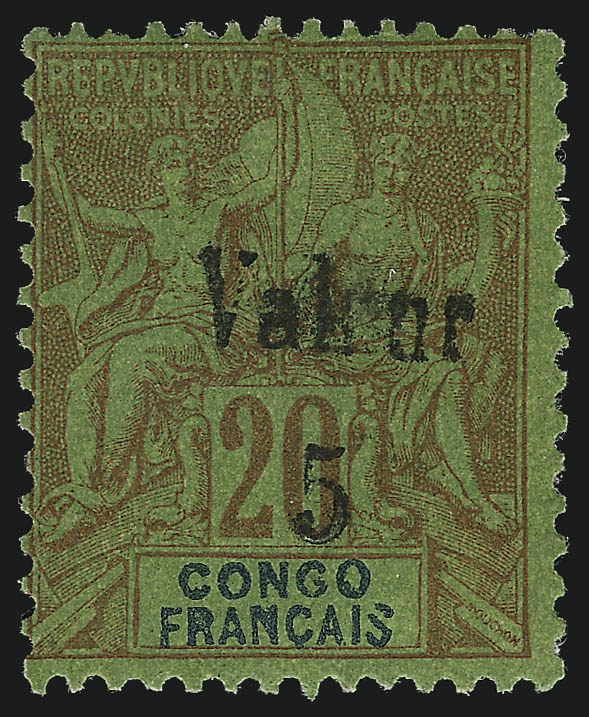 French Congo 5c on 20c Red on Green, 1900 stamp