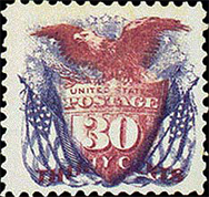 Shield, Eagle and Flags, 1869 rare stamp