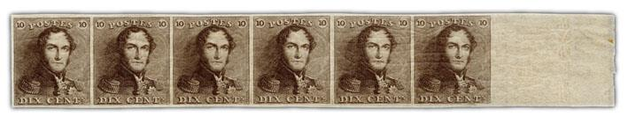 10c mint stamp strip, 1849