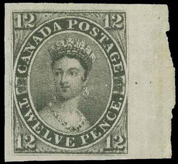 12d Black Canada 1851