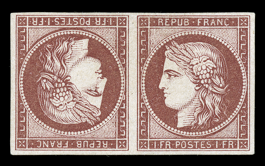 1Fr Light carmine on yellowish tete-beche, 1849 stamp