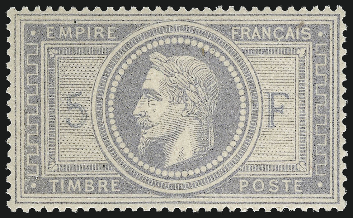 5fr Gray Lilac on Lavender Paper, 1869 stamp