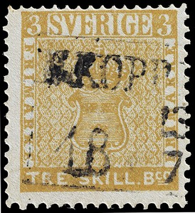 Treskilling Yellow stamp, 1855