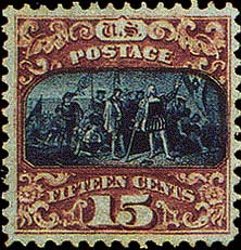 LANDING OF COLUMBUS, 1869 rare stamp