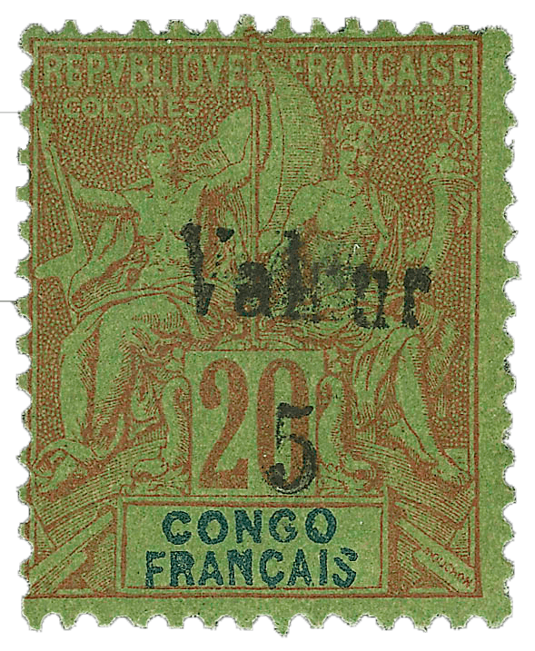 French Congo 5c on 20c Red on Green, 1900