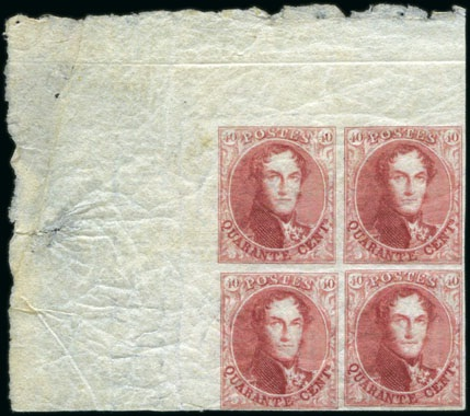40c Epaulettes block of four stamps, 1849