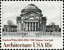 New york university library american architecture stamp for New york state architect stamp