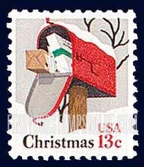 13 Cent Christmas Mailbox Stamp Value