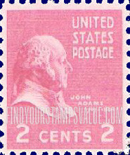 Red 2 Cent John Adams 1797 1801 Stamp Value